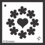 Craft Stencil : Heart & Flowers